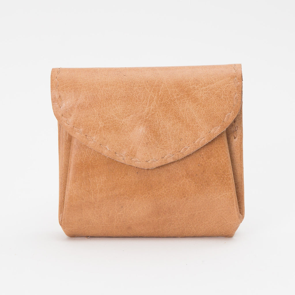 Leather Double Pocket Pouch - Tan