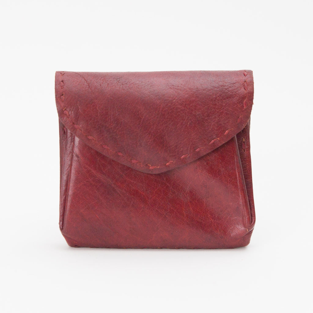 Leather Double Pocket Pouch - Deep Red