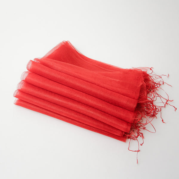 1/2 Dozen - Silk Handwoven Nuno Scarves - Red