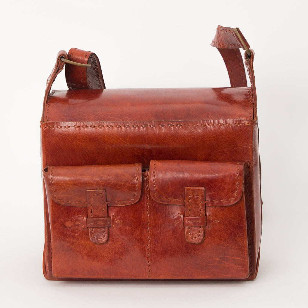 Leather Camera Bag - Red