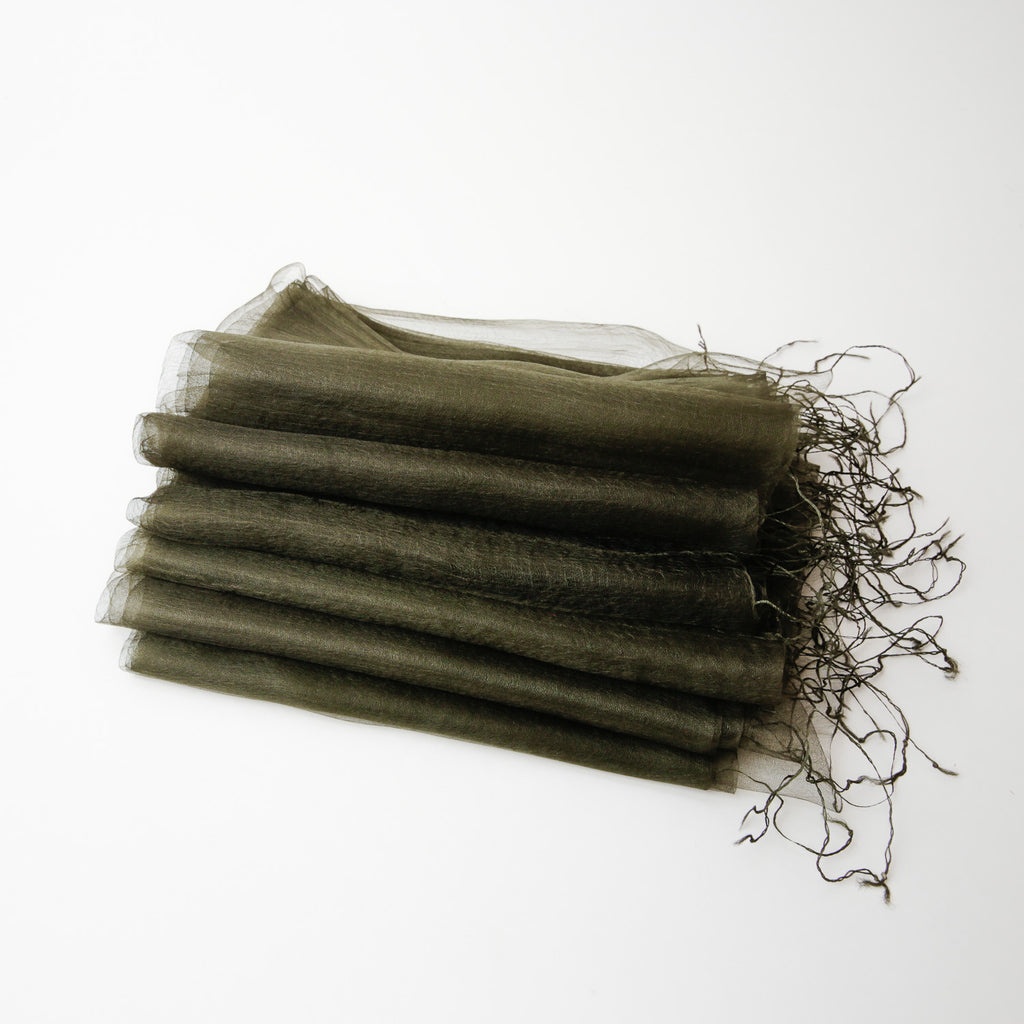 1/2 Dozen - Silk Handwoven Nuno Scarves - Green