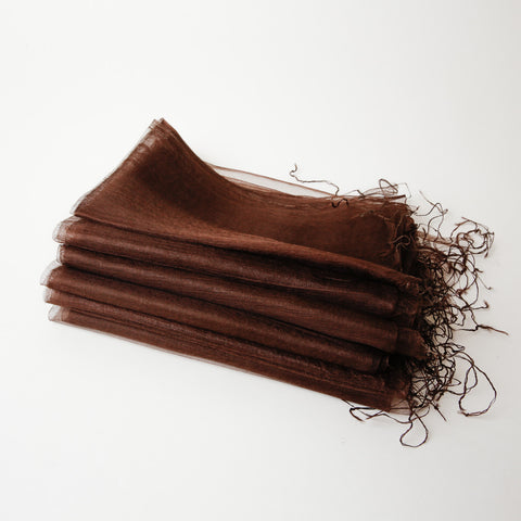 1/2 Dozen - Silk Handwoven Nuno Scarves - Brown