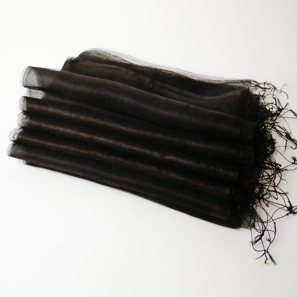 1/2 Dozen - Silk Handwoven Nuno Scarves - Black