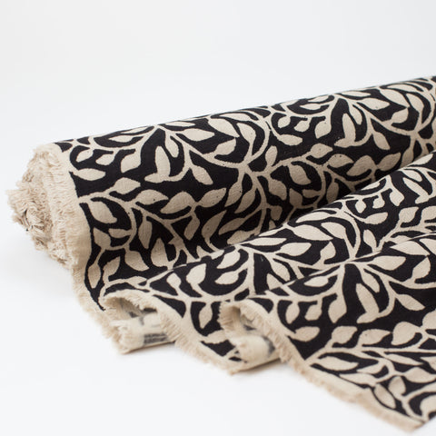 Fabric - Heavy Organic Cotton Block Printed with Natural Dyes - B&W Vine