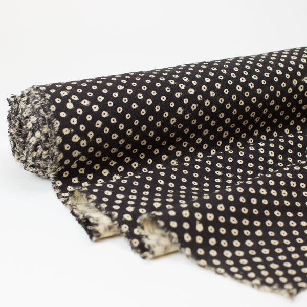 Fabric - Heavy Organic Cotton Block Printed with Natural Dyes - B&W Dot