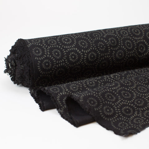 Fabric - Heavy Organic Cotton Block Printed with Natural Dyes - Black Burst
