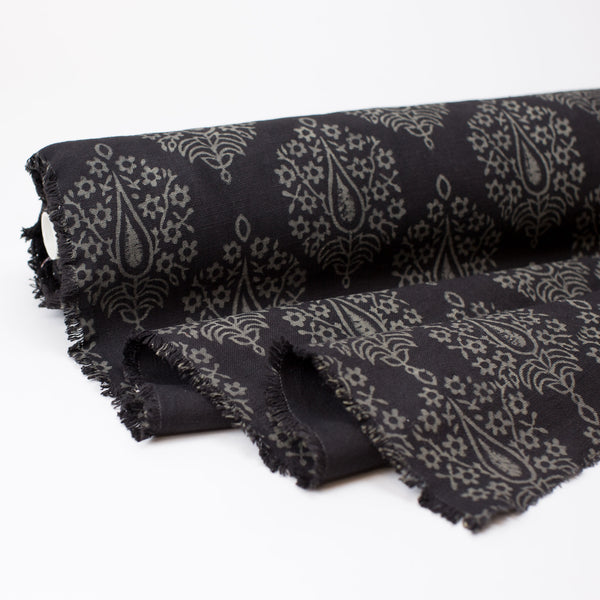 Fabric - Heavy Organic Cotton Block Printed with Natural Dyes - Black Flowering Tree