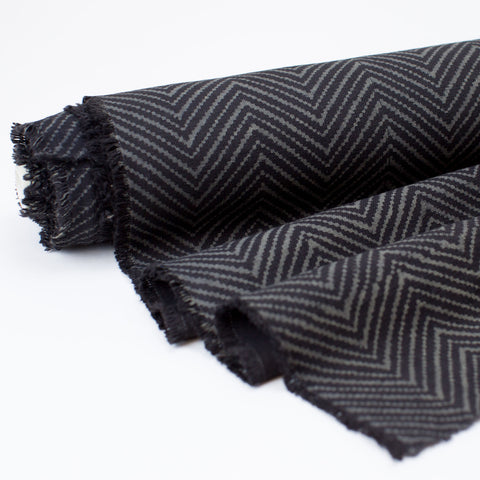 Fabric - Heavy Organic Cotton Block Printed with Natural Dyes - Black Zig Zag