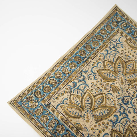 Organic Cotton Napkin - Kalamkari - Indigo Ochre Bloom
