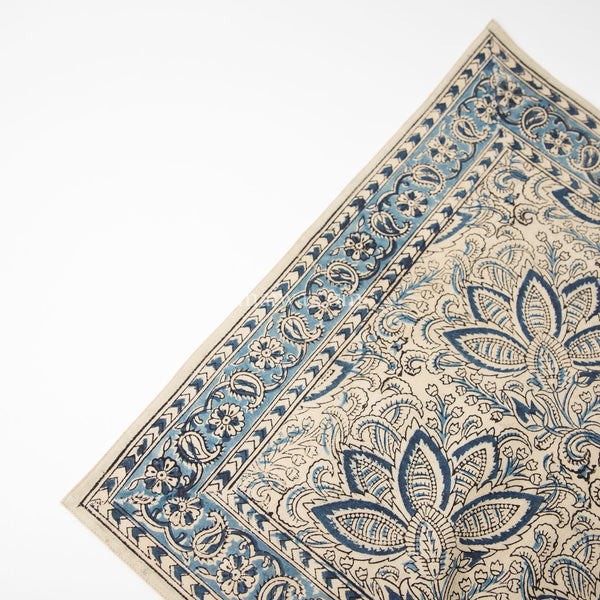 Organic Cotton Napkin - Kalamkari - Indigo Bloom