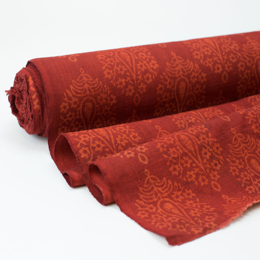 Fabric - Heavy Organic Cotton Block Printed with Natural Dyes - Madder Flowering Tree