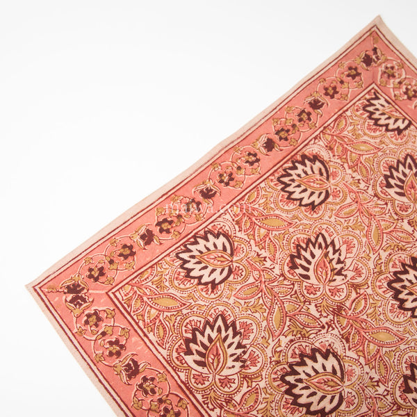 Organic Cotton Napkin - Kalamkari - Burgundy Lotus