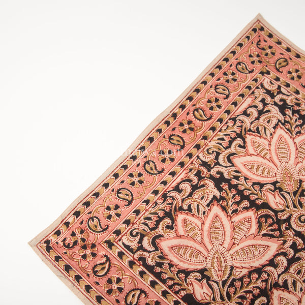 Organic Cotton Napkin - Kalamkari - Rose & Black Bloom