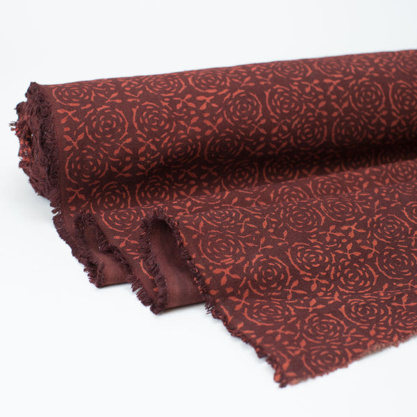 Fabric - Heavy Organic Cotton Block Printed with Natural Dyes - Burgundy Floral