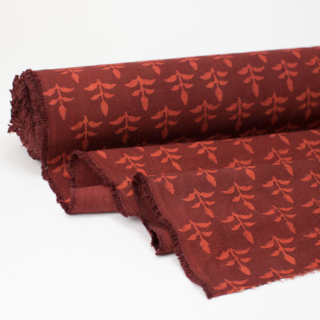 Fabric - Heavy Organic Cotton Block Printed with Natural Dyes - Burgundy Seedling