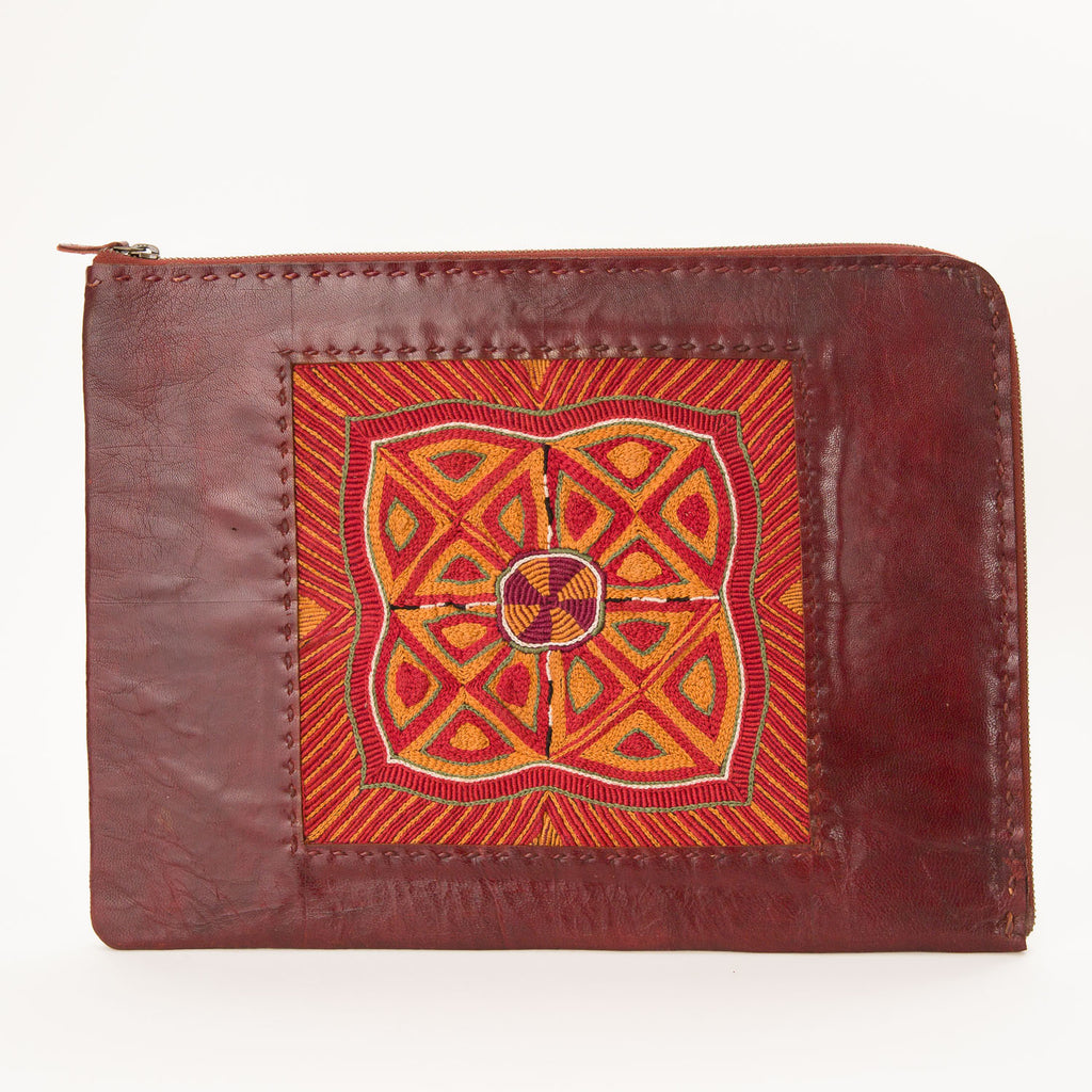 Banjara Embroidery - Red Leather Laptop Case - Pattern 1