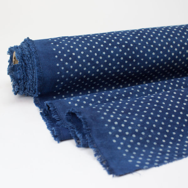 Fabric - Heavy Organic Cotton Block Printed with Natural Indigo - Small Dot