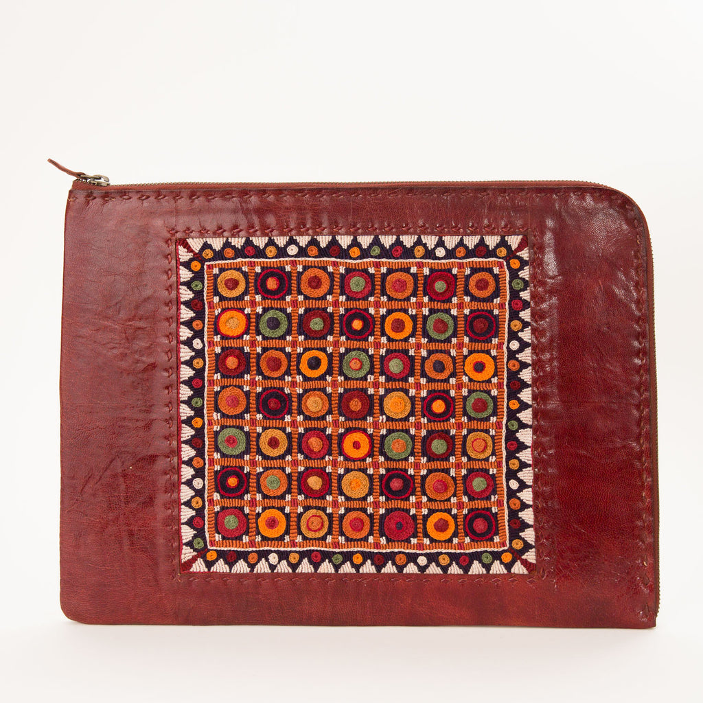 Banjara Embroidery - Red Leather Computer Case - Pattern 6