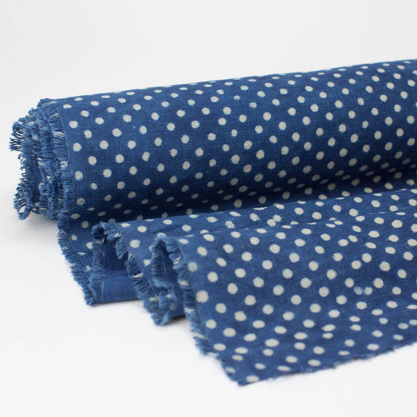 Fabric - Heavy Organic Cotton Block Printed with Natural Indigo - Medium Dot