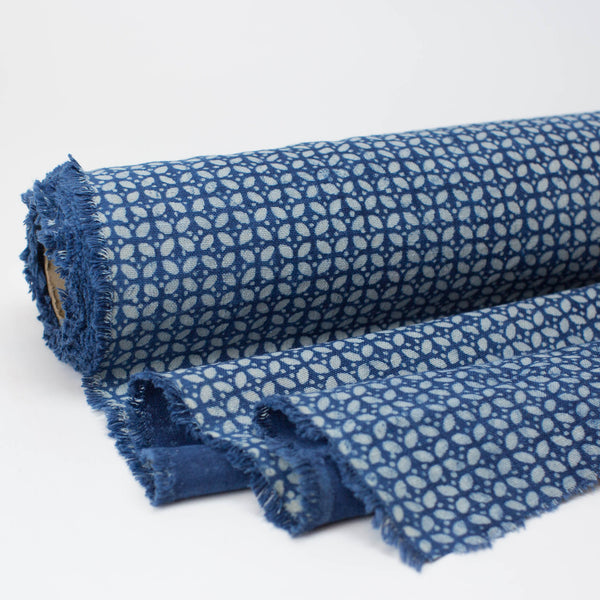 Fabric - Heavy Organic Cotton Block Printed with Natural Indigo - Flower Dot