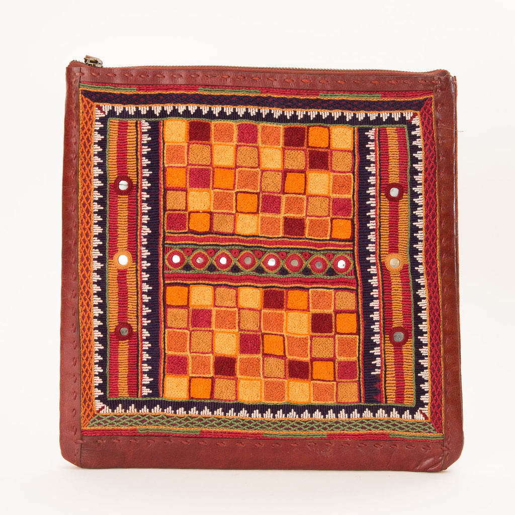 Banjara Embroidery - Red Leather Flat Pouch - Pattern 2