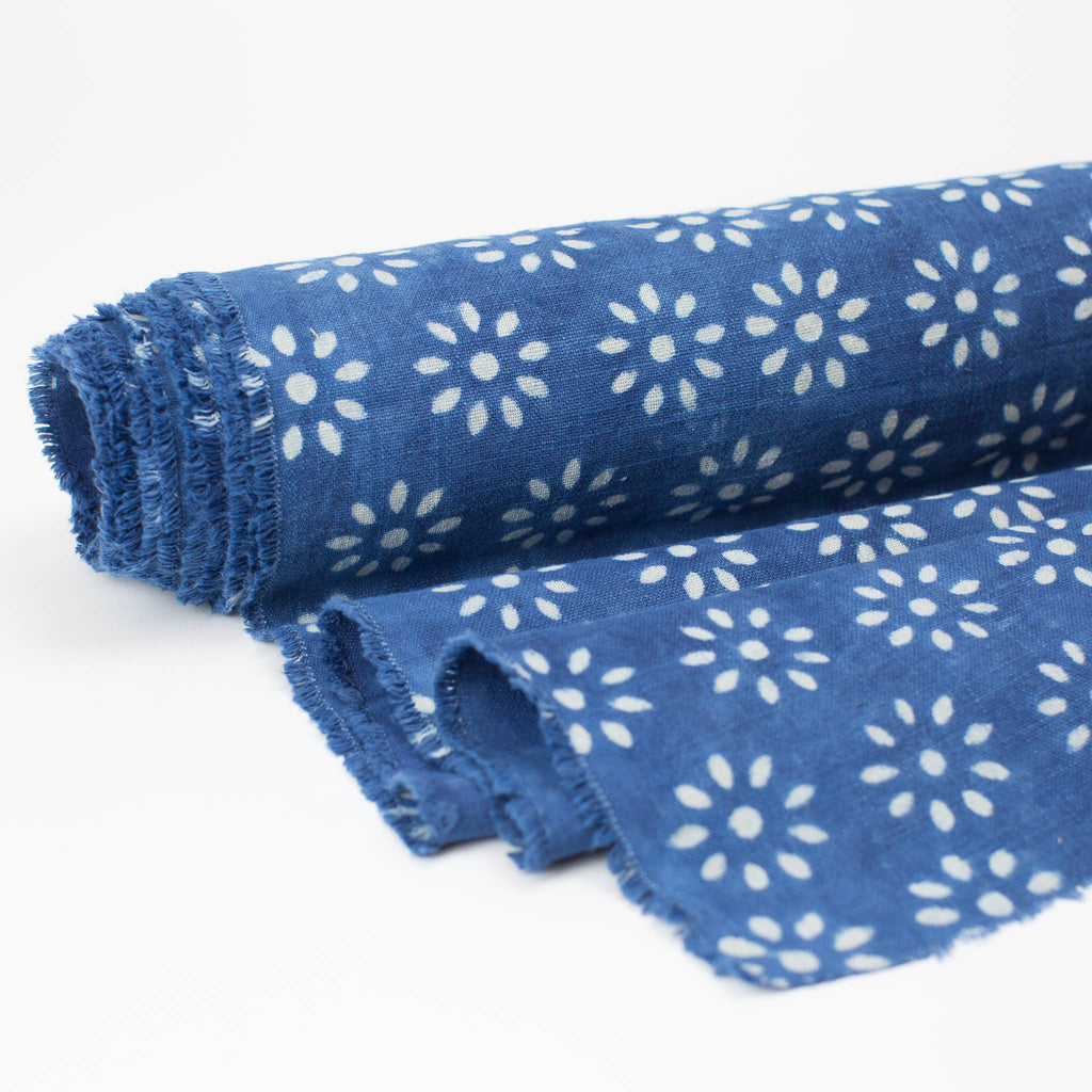 Fabric - Heavy Organic Cotton Block Printed with Natural Indigo - 9 Petal Flower