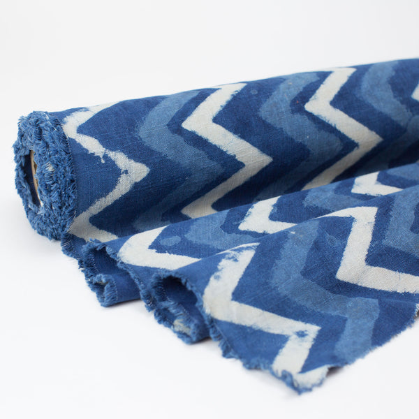 Fabric - Heavy Organic Cotton Block Printed with Natural Indigo - 3 Tone Zig Zag