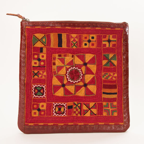 Banjara Embroidery - Large Leather Square Pouch - Pattern 3