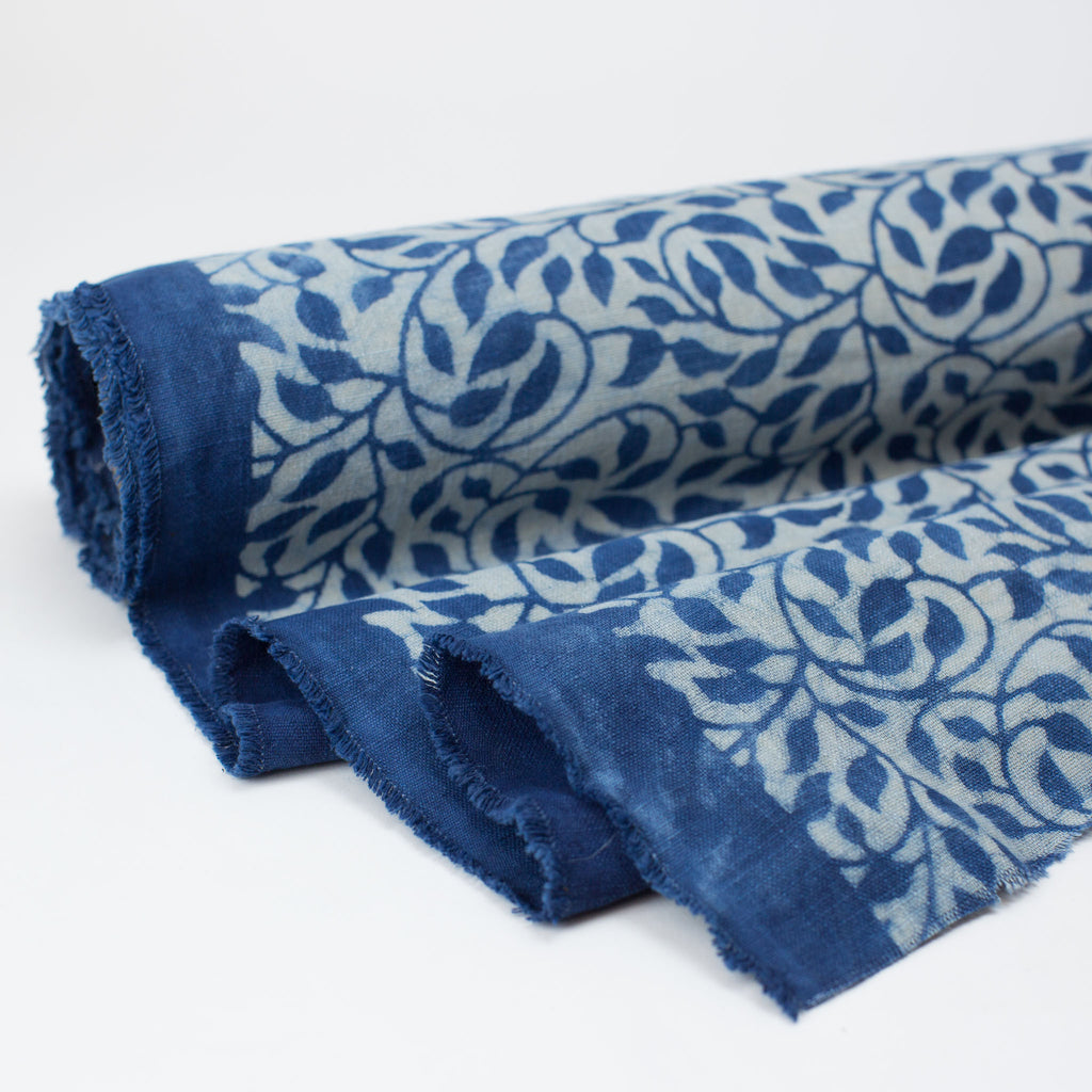 Fabric - Heavy Organic Cotton Block Printed with Natural Indigo - Vine