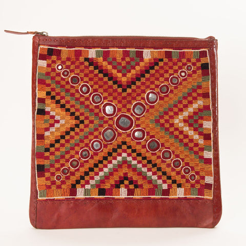 Banjara Embroidery - Large Leather Square Pouch - Pattern 4