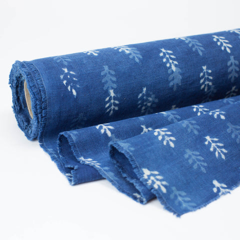 Fabric - Heavy Organic Cotton Block Printed with Natural Indigo - 3 Tone Bhuti