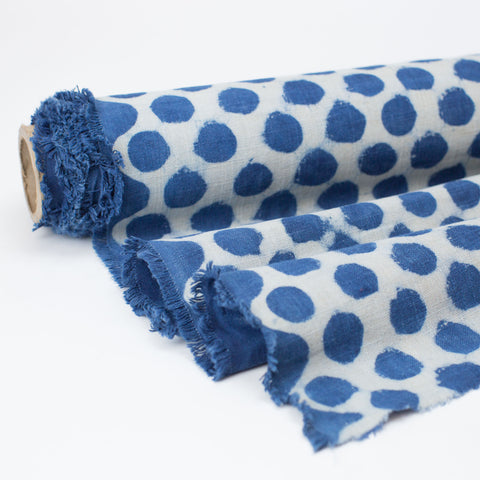 Fabric - Heavy Organic Cotton Block Printed with Natural Indigo - Big Dot