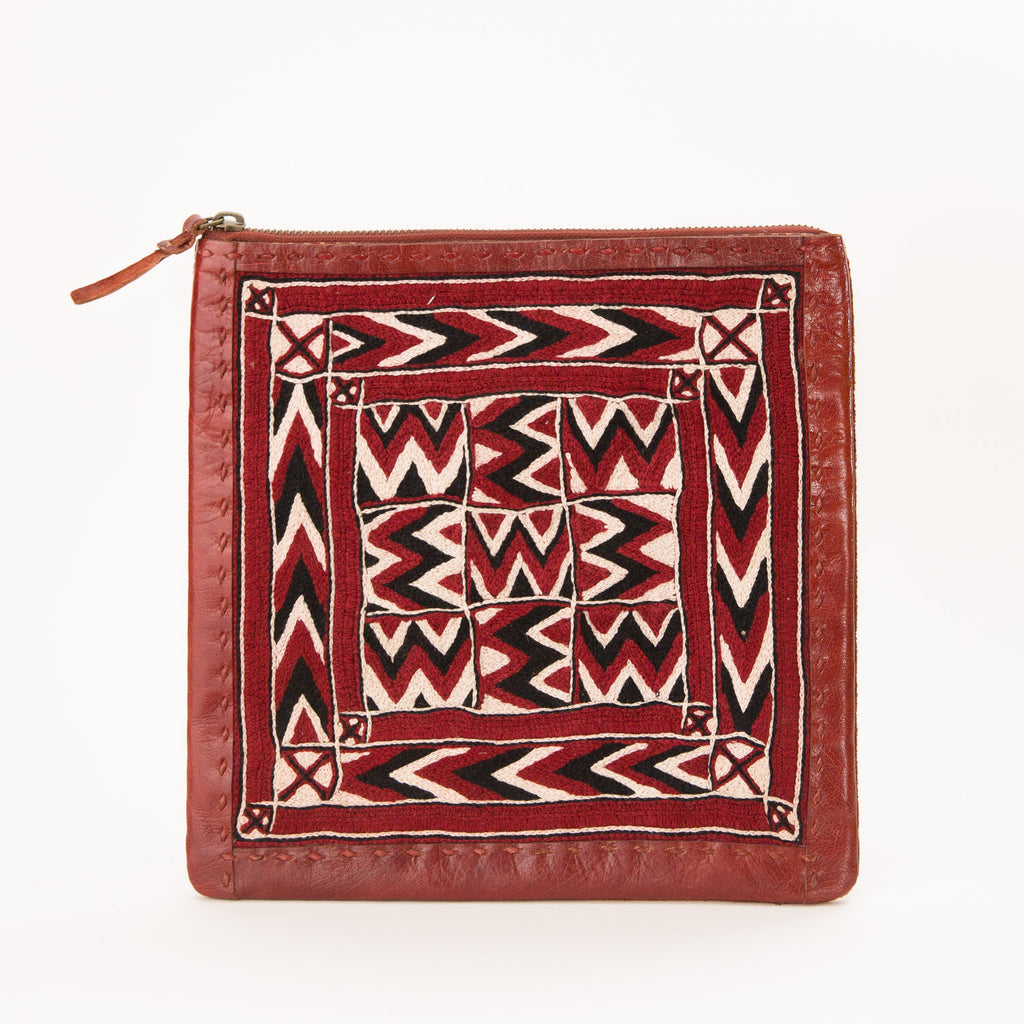 Banjara Embroidery - Small Red Leather Flat Pouch - Pattern 2