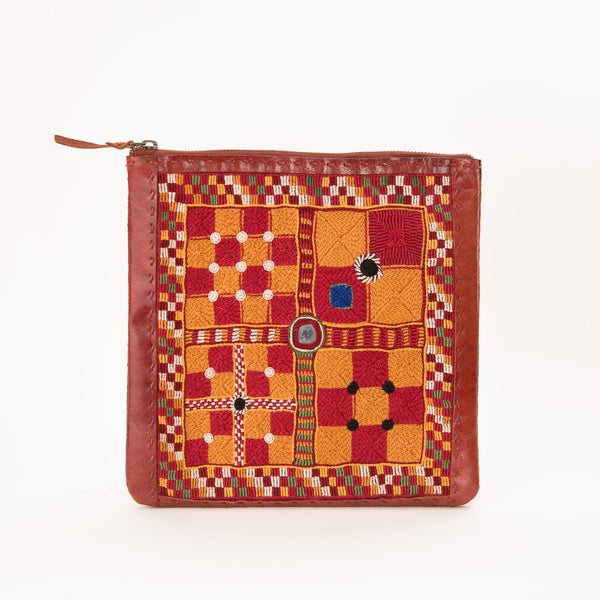 Banjara Embroidery - Medium Leather Square Pouch - Pattern 3