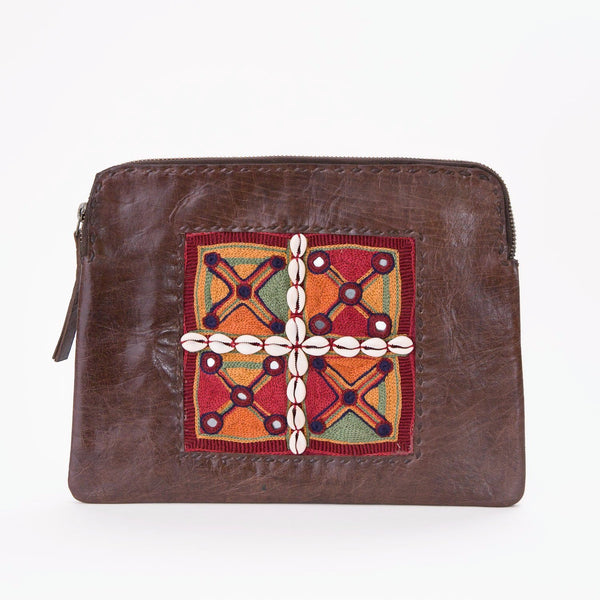Banjara Embroidery - Brown Leather Clutch - Pattern 2