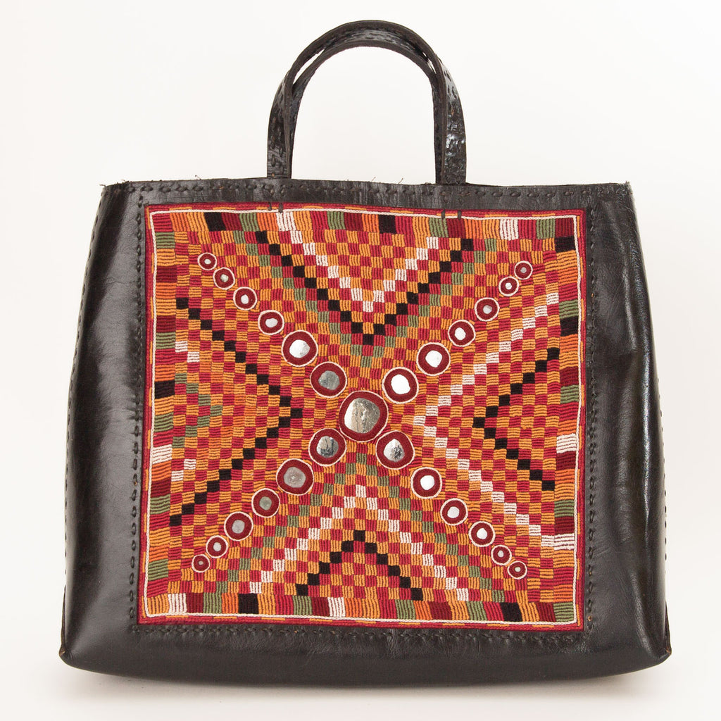 Banjara Embroidery - Black Leather Hand Bag - Pattern 4