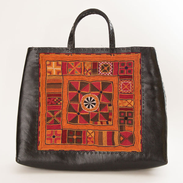 Banjara Embroidery - Black Leather Hand Bag - Pattern 3