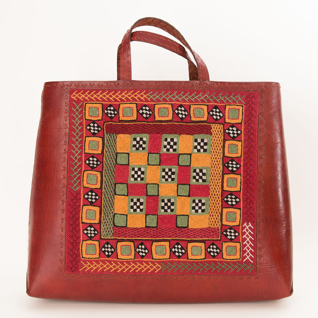 Banjara Embroidery - Red Leather Hand Bag - Pattern 2
