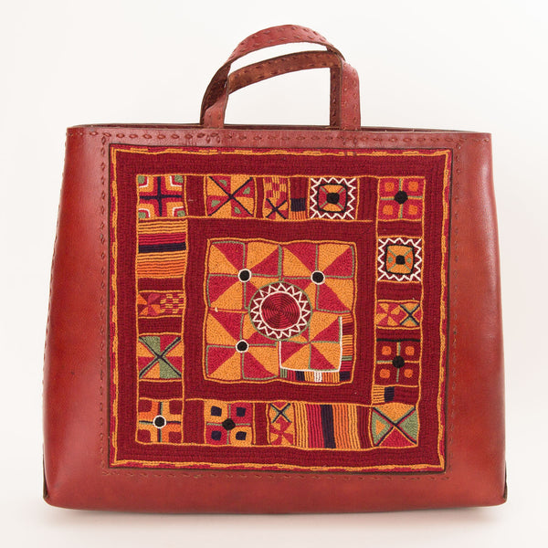 Banjara Embroidery - Red Leather Hand Bag - Pattern 1