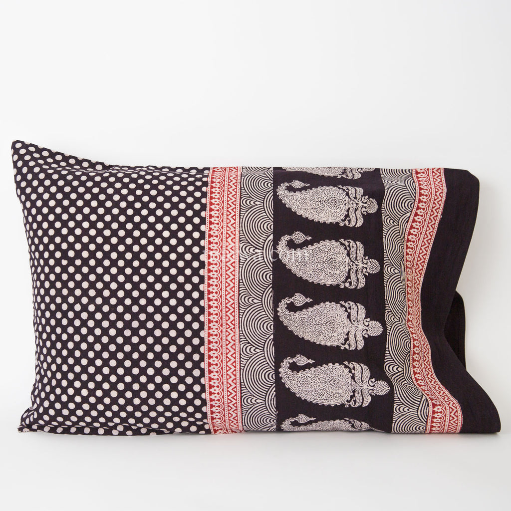 Organic Cotton Pillow Case - Black & White Dot