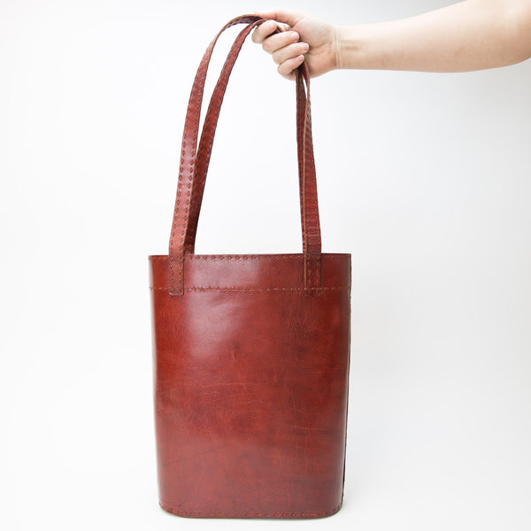 Leather Slim Tote - Red