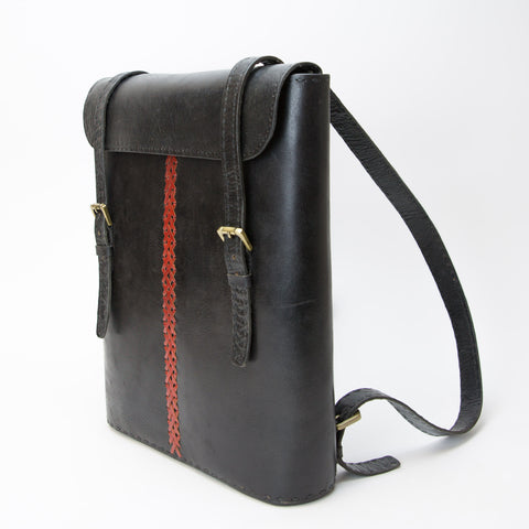 Leather Backpack - Black with Red Stitches