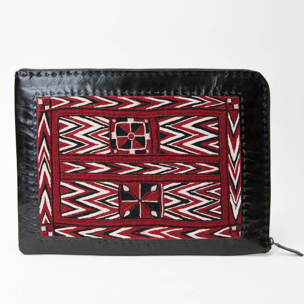 Banjara Embroidery - Black Leather Laptop Case - Pattern 3