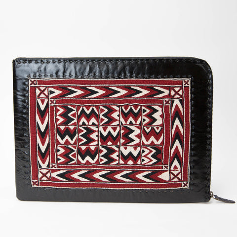 Banjara Embroidery - Black Leather Laptop Case - Pattern 4