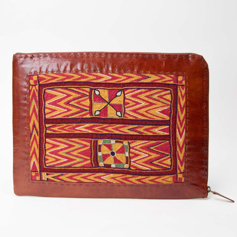 Banjara Embroidery - Red Leather Laptop Case - Pattern 3