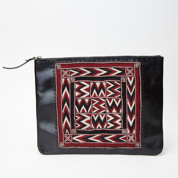 Banjara Embroidery - Black Leather Case - Pattern 1