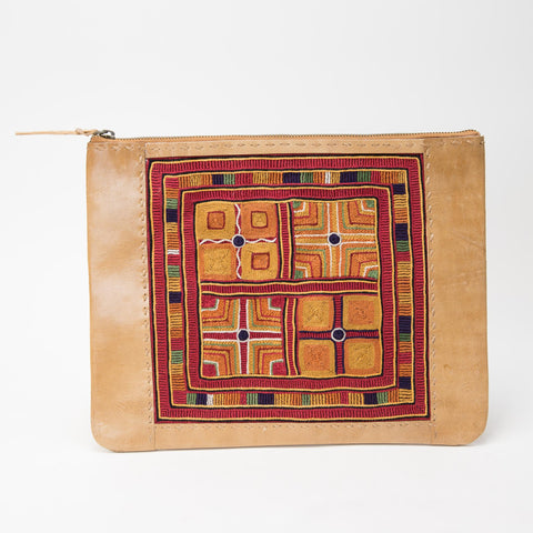 Banjara Embroidery - Tan Leather Case - Pattern 1