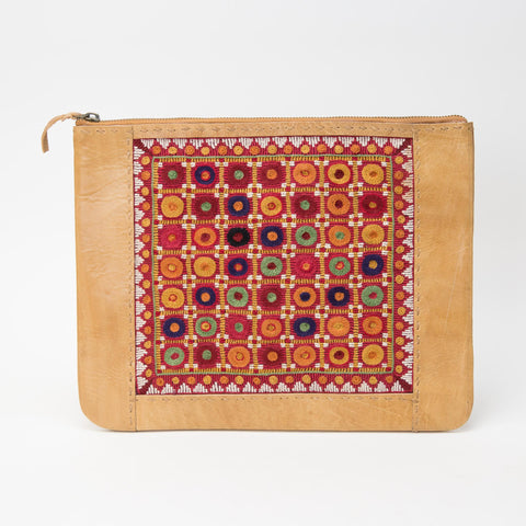 Banjara Embroidery - Tan Leather Case - Pattern 2