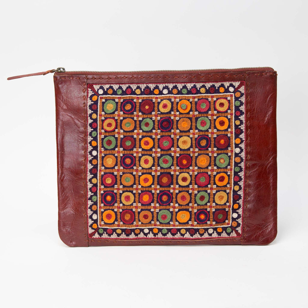 Banjara Embroidery - Red Leather Case - Pattern 4