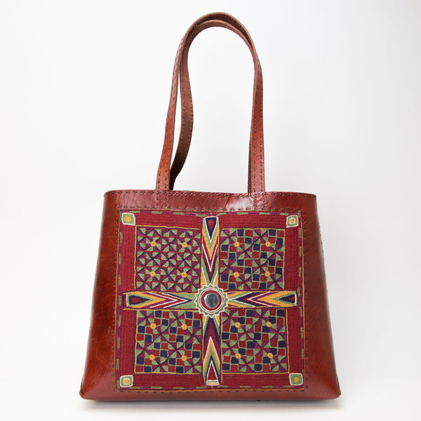 Banjara Embroidery - Red Leather Journey Bag - Pattern 3